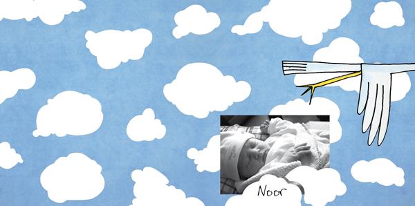 Familieberichten geboortekaart Noor Saskia Schreven
