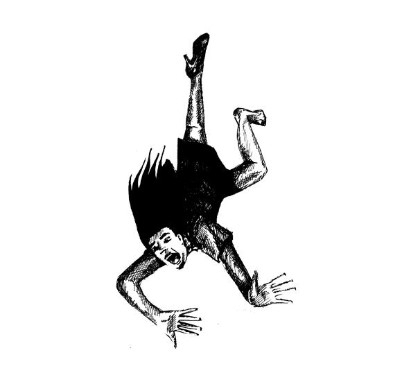 Moderne Sagen - Het Einde Van Het Journaal - Saskia Schreven - Illustratie - Vallende vrouw